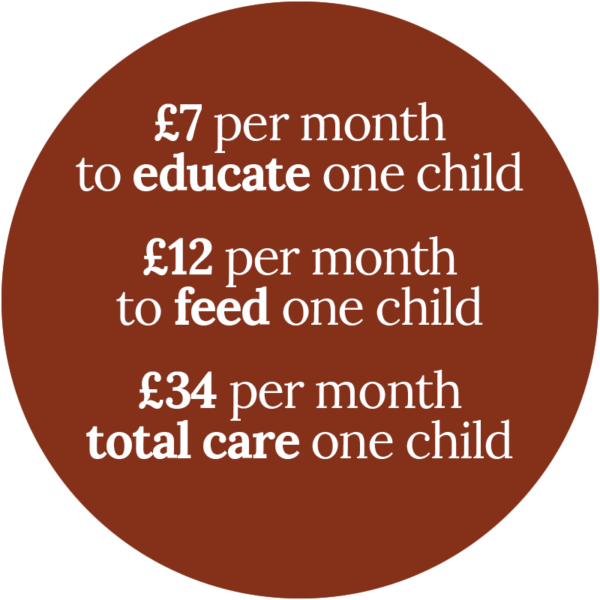 £7 per month to educate one child, £12 per month to feed one child
