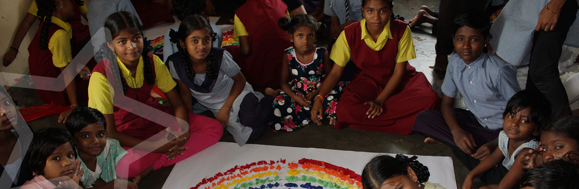 Arts and crafts with children at ASRITHA Rainbow Home
