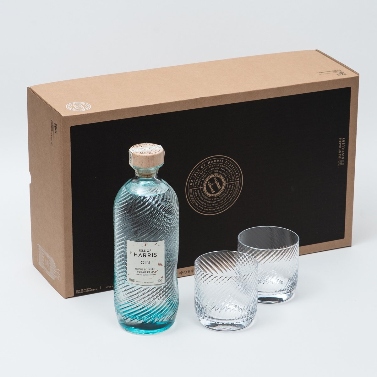 Photo of Isle of Harris gift-set. 1 bottle of gin and two bespoke glass tumblers.